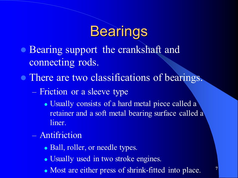 Bearings Bearing support the crankshaft and connecting rods.