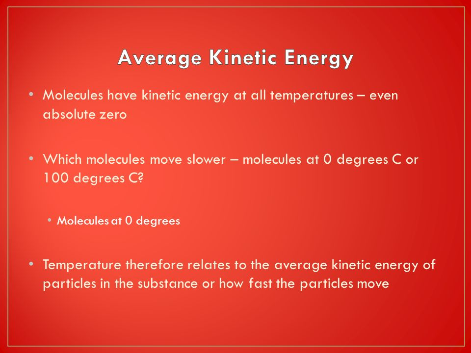 Average Kinetic Energy