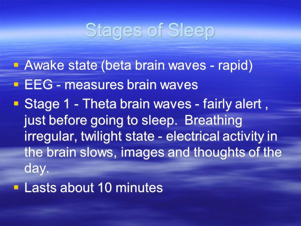 Stages of Sleep Awake state (beta brain waves - rapid)