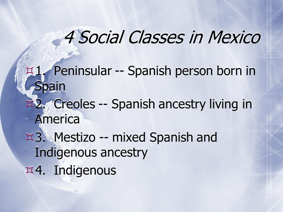 4 Social Classes in Mexico