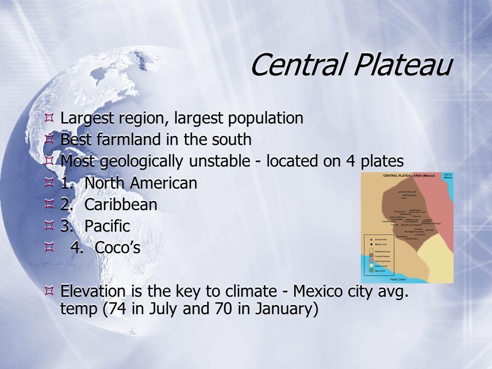 Central Plateau Largest region, largest population