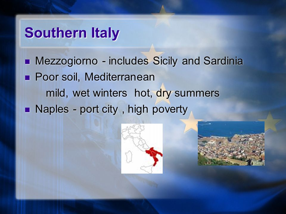 Southern Italy Mezzogiorno - includes Sicily and Sardinia