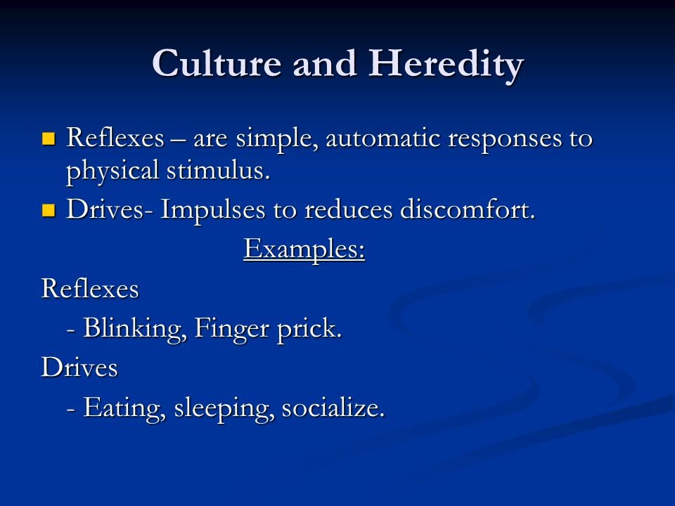 Culture and Heredity Reflexes – are simple, automatic responses to physical stimulus. Drives- Impulses to reduces discomfort.