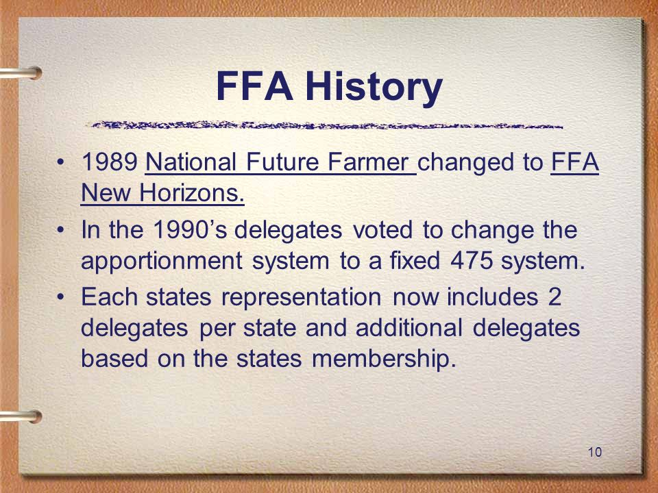 FFA History 1989 National Future Farmer changed to FFA New Horizons.