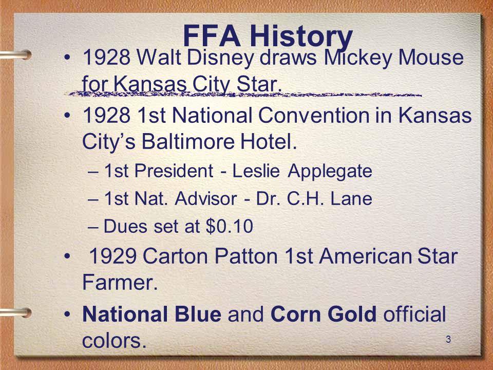 FFA History 1928 Walt Disney draws Mickey Mouse for Kansas City Star.