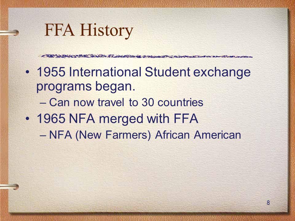 FFA History 1955 International Student exchange programs began.