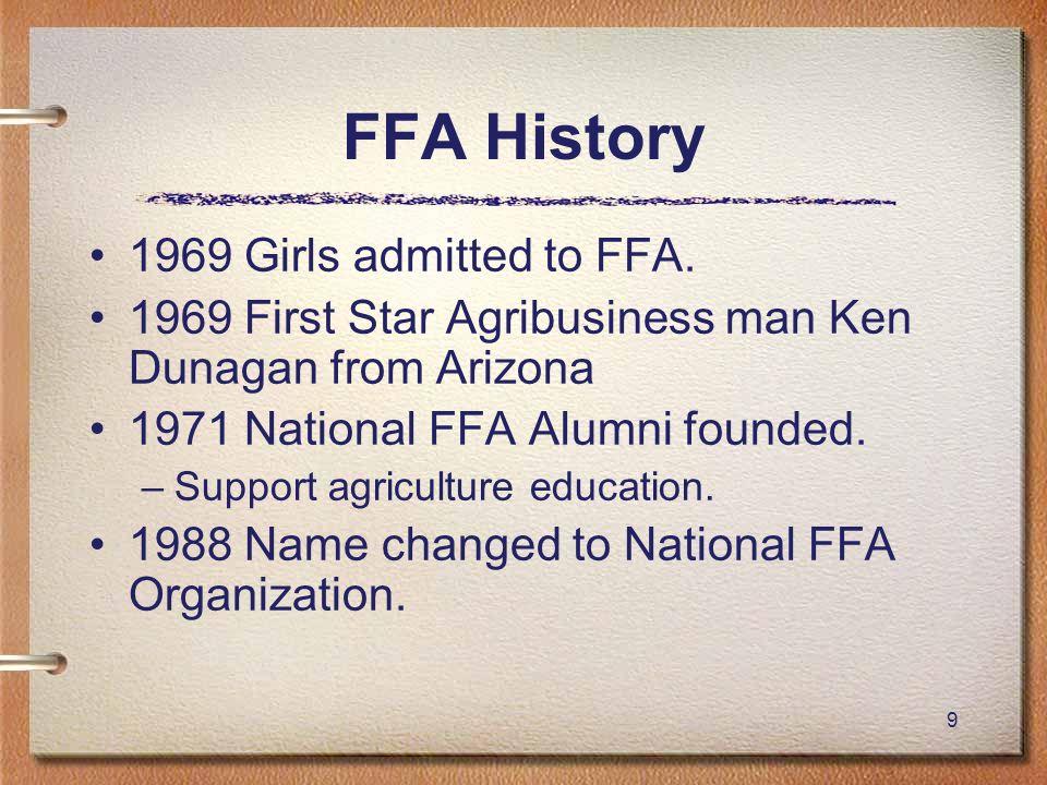 FFA History 1969 Girls admitted to FFA.