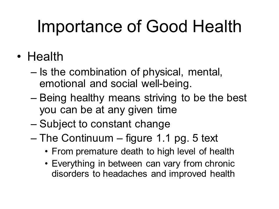"""value of good health Today we go over the components of leading a healthy lifestyle and how it's  good health is """"simple – but  self-esteem is all about how much people value."""