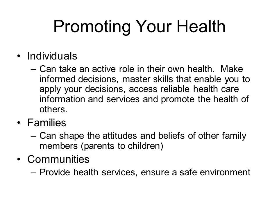 Promoting Health and Wellness in the Work Environment
