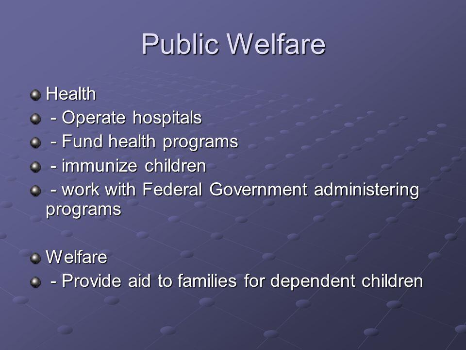Public Welfare Health - Operate hospitals - Fund health programs