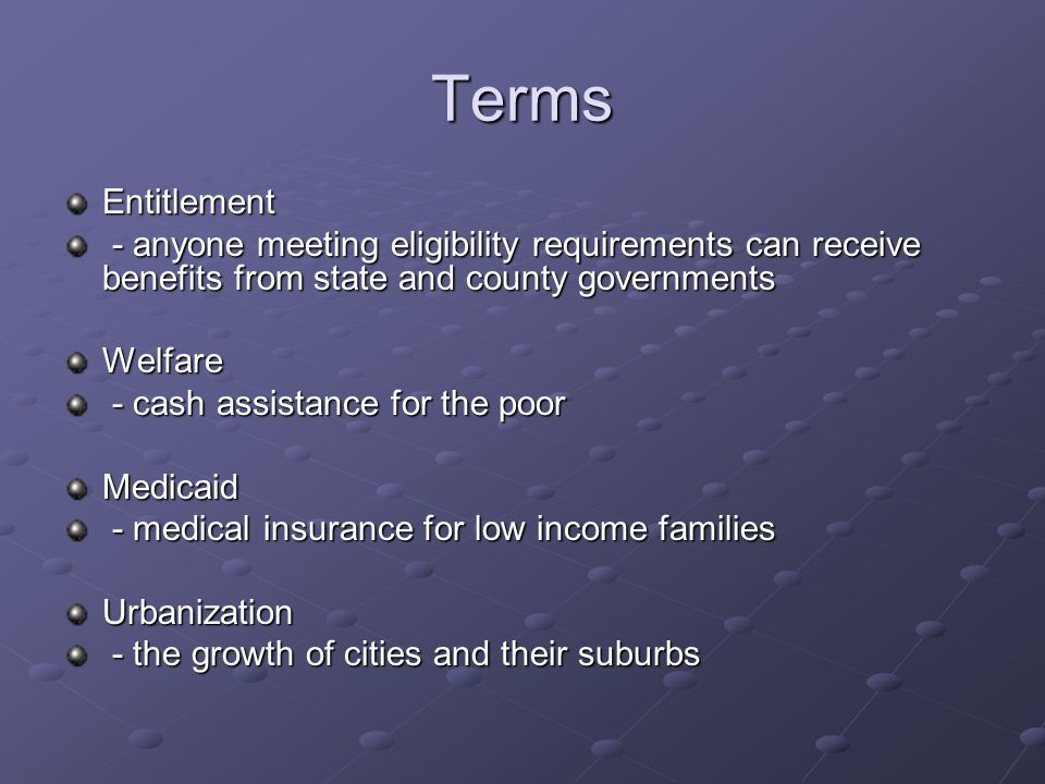 Terms Entitlement. - anyone meeting eligibility requirements can receive benefits from state and county governments.