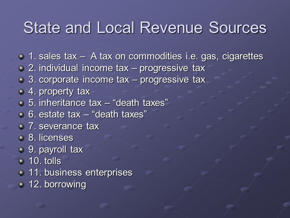 State and Local Revenue Sources