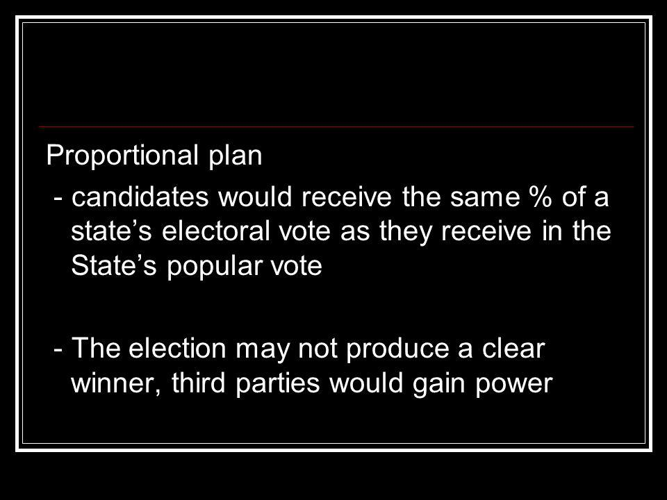 Proportional plan- candidates would receive the same % of a state's electoral vote as they receive in the State's popular vote.
