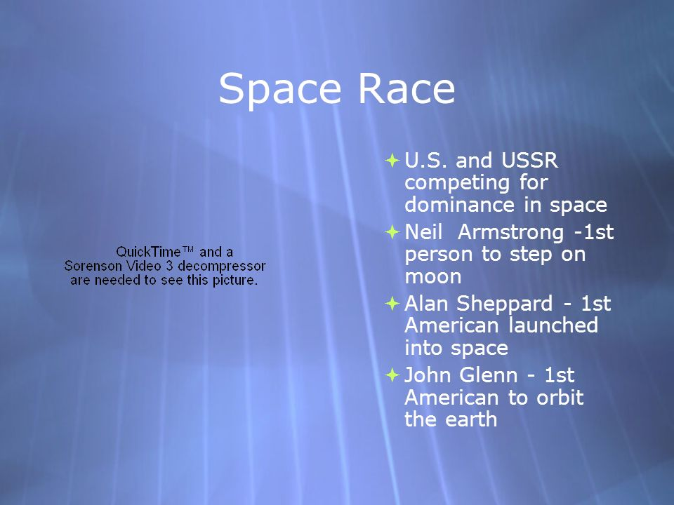 Space Race U.S. and USSR competing for dominance in space