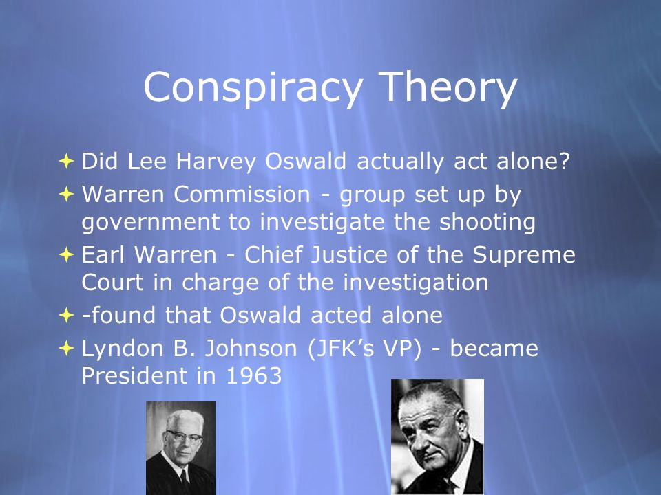 Conspiracy Theory Did Lee Harvey Oswald actually act alone