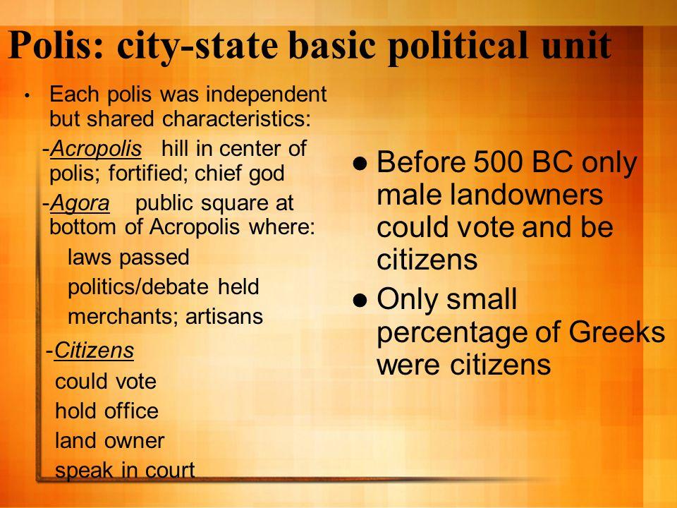 Polis: city-state basic political unit