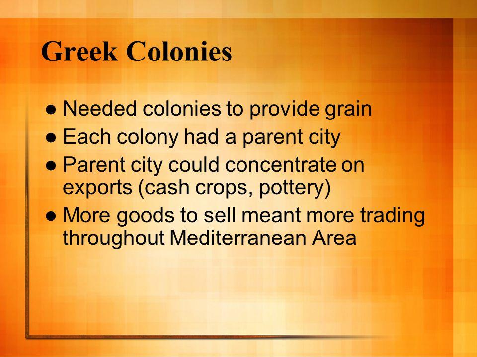 Greek Colonies Needed colonies to provide grain