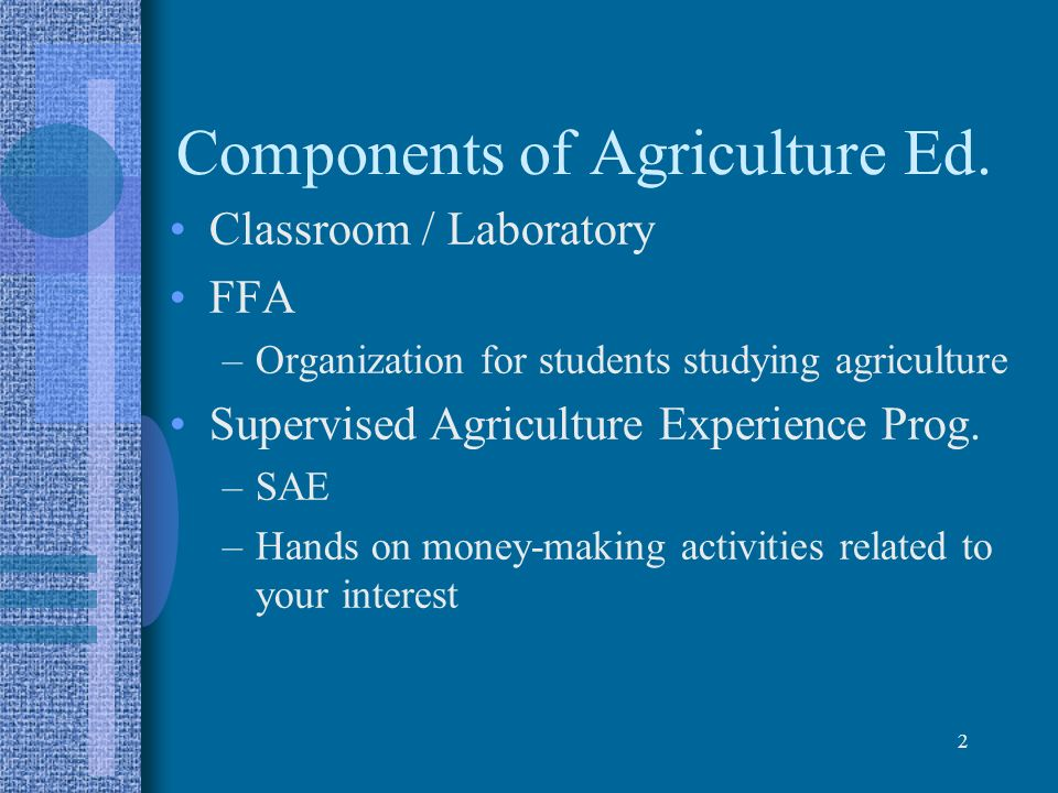 Components of Agriculture Ed.
