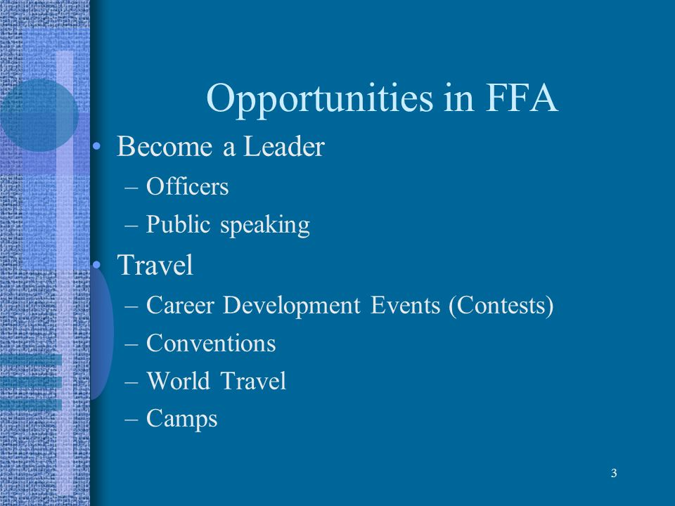 Opportunities in FFA Become a Leader Travel Officers Public speaking