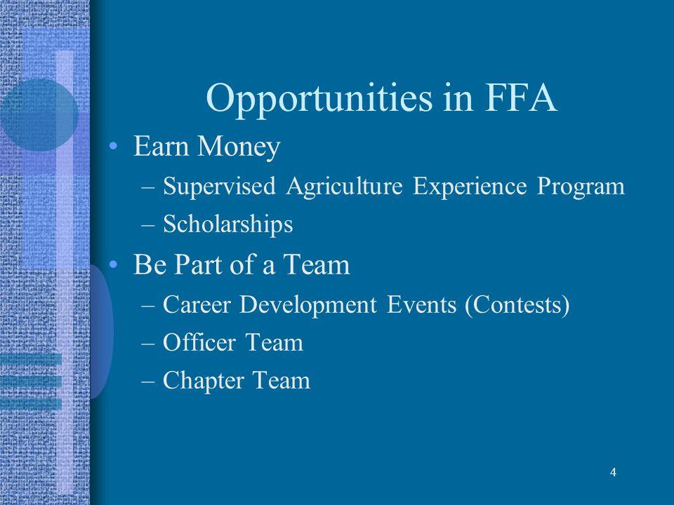 Opportunities in FFA Earn Money Be Part of a Team
