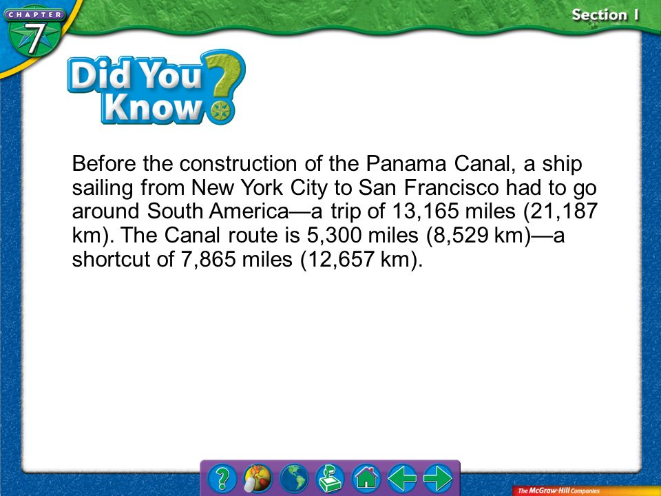 Before the construction of the Panama Canal, a ship sailing from New York City to San Francisco had to go around South America—a trip of 13,165 miles (21,187 km). The Canal route is 5,300 miles (8,529 km)—a shortcut of 7,865 miles (12,657 km).