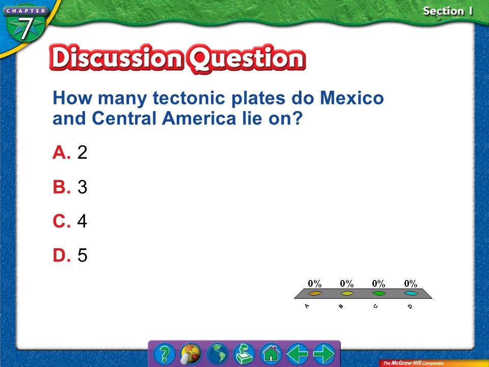 How many tectonic plates do Mexico and Central America lie on A. 2