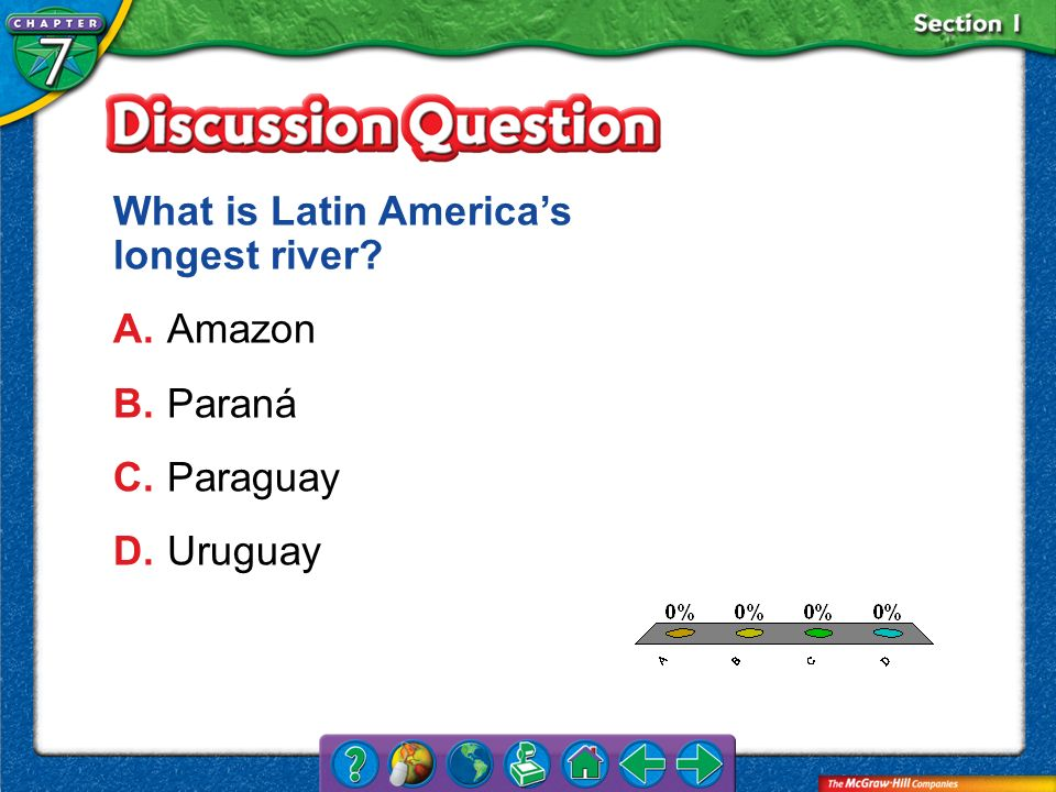 What is Latin America's longest river A. Amazon B. Paraná C. Paraguay