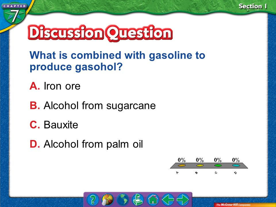 What is combined with gasoline to produce gasohol A. Iron ore