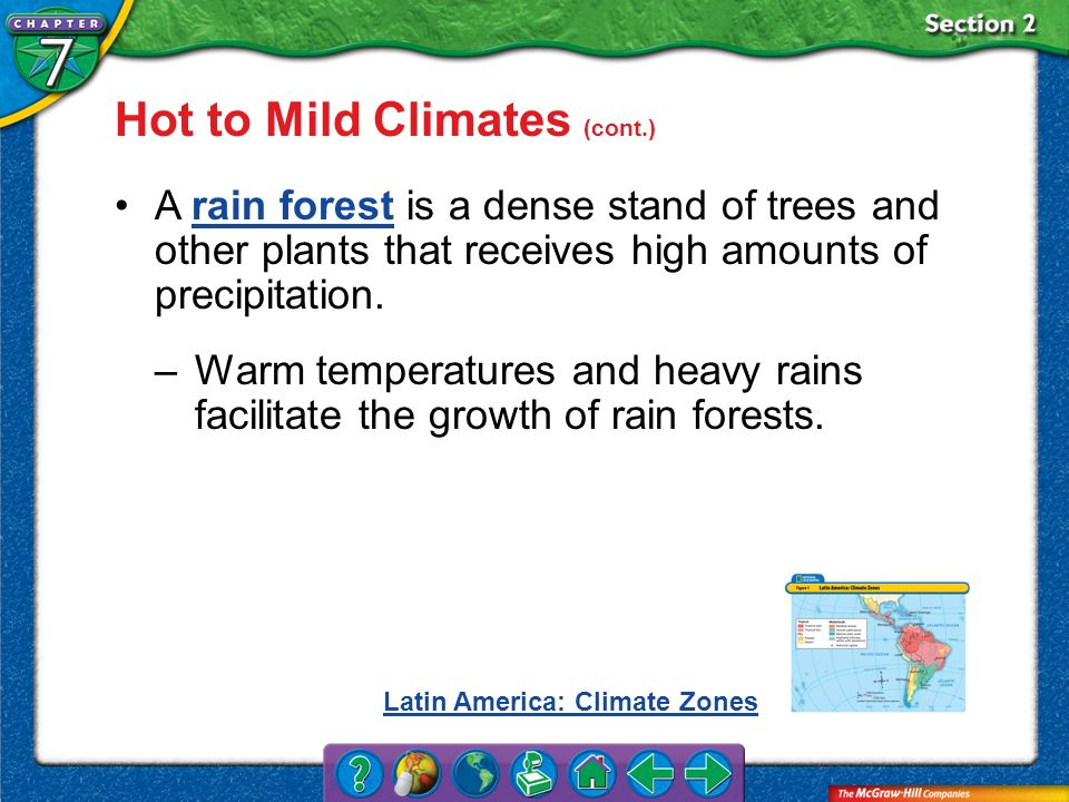 Hot to Mild Climates (cont.)