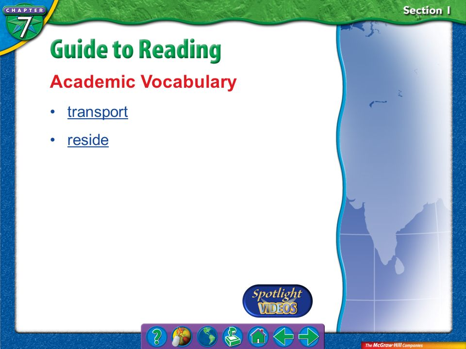 Academic Vocabulary transport reside Section 1-Key Terms