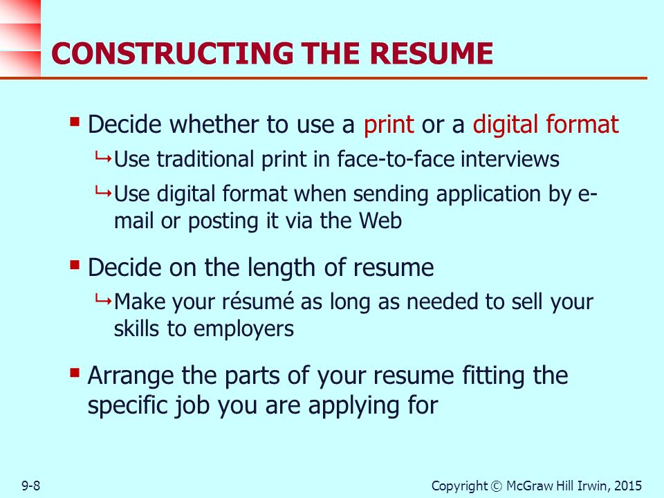 CONSTRUCTING THE RESUME