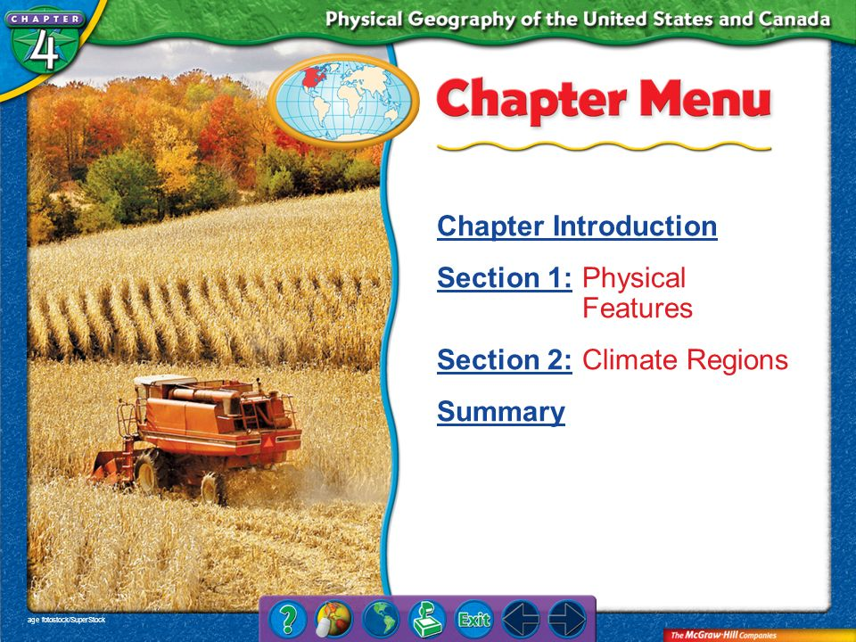 Section 1: Physical Features Section 2: Climate Regions Summary