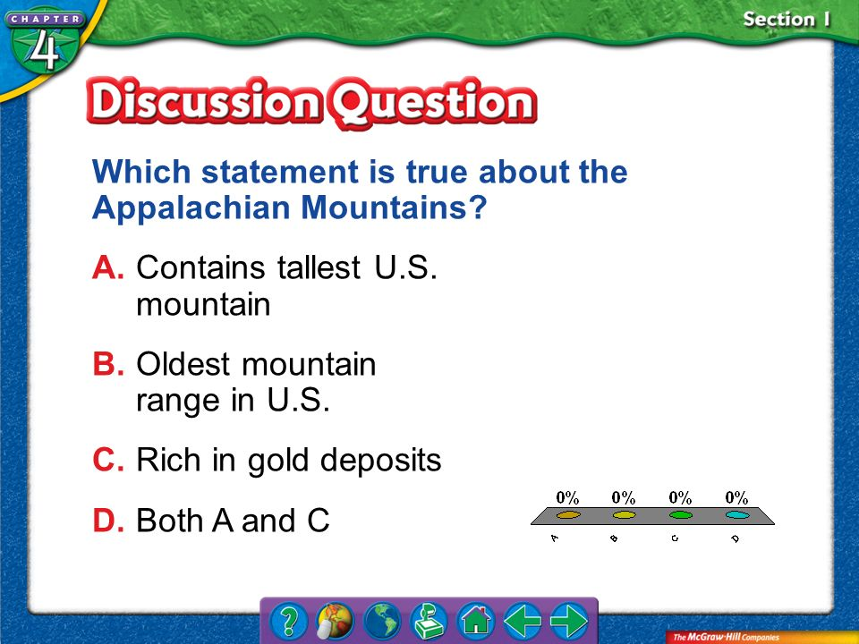 Which statement is true about the Appalachian Mountains