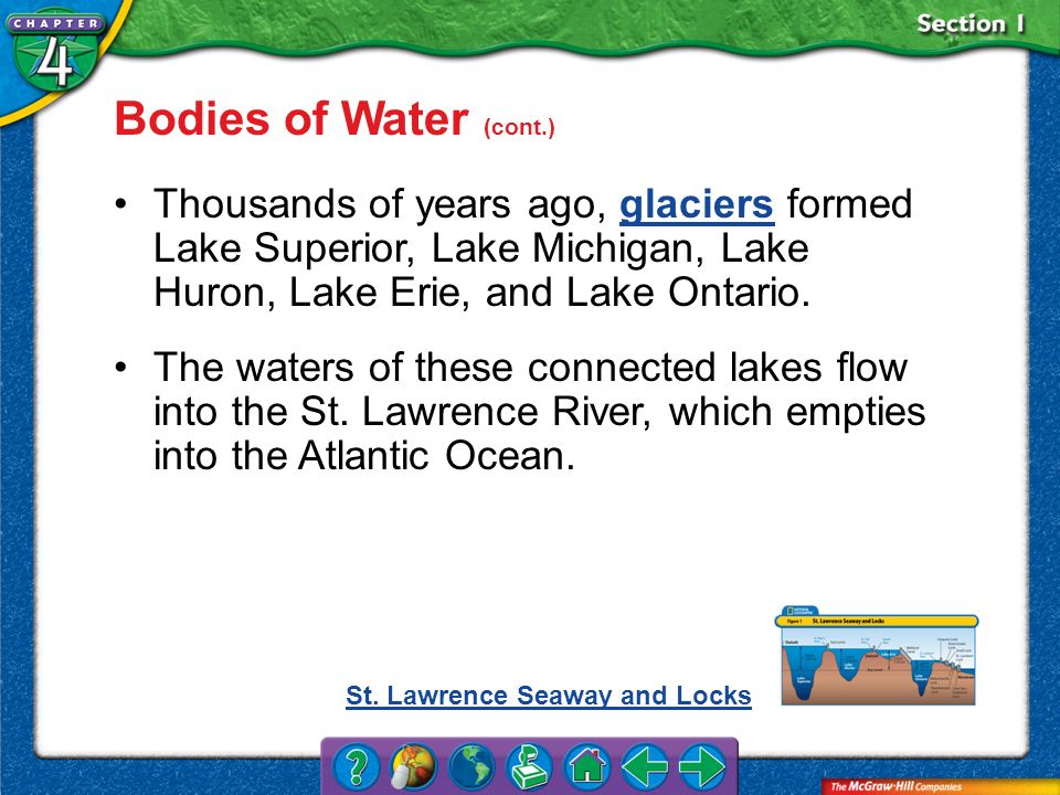 Bodies of Water (cont.) Thousands of years ago, glaciers formed Lake Superior, Lake Michigan, Lake Huron, Lake Erie, and Lake Ontario.