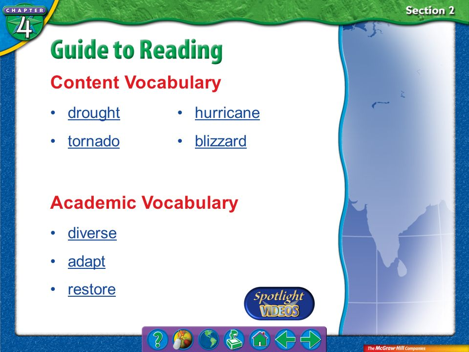 Content Vocabulary Academic Vocabulary drought tornado hurricane