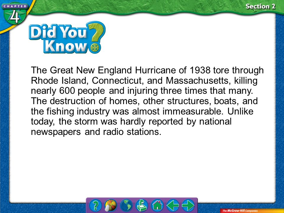 The Great New England Hurricane of 1938 tore through Rhode Island, Connecticut, and Massachusetts, killing nearly 600 people and injuring three times that many. The destruction of homes, other structures, boats, and the fishing industry was almost immeasurable. Unlike today, the storm was hardly reported by national newspapers and radio stations.