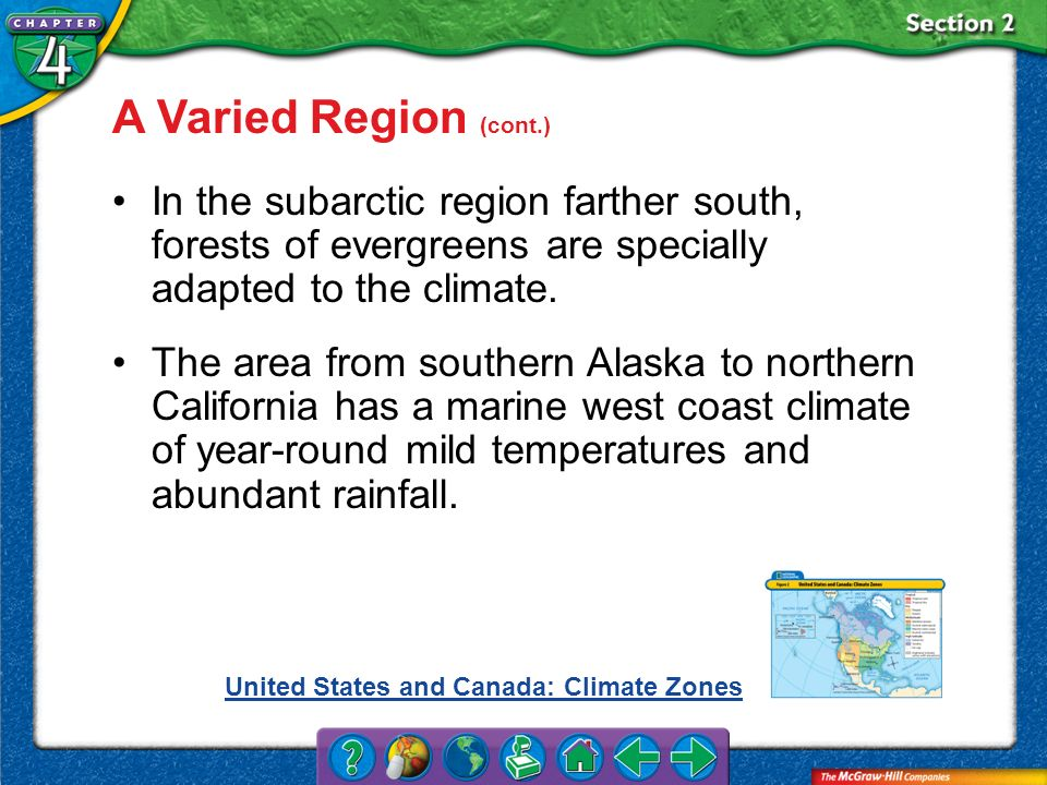 A Varied Region (cont.) In the subarctic region farther south, forests of evergreens are specially adapted to the climate.