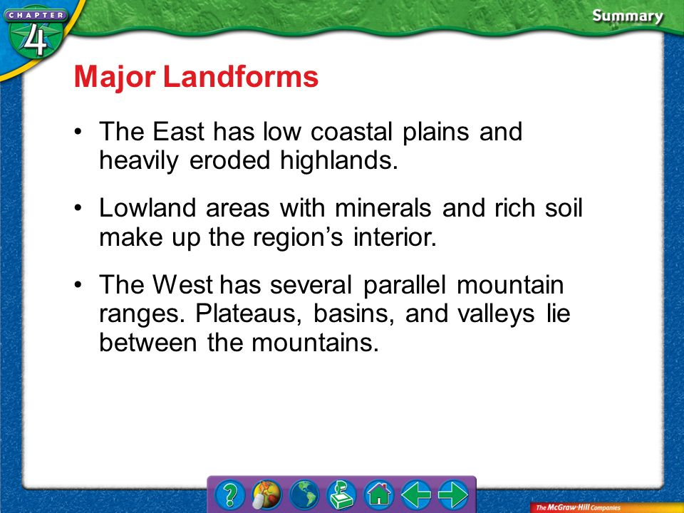 Major Landforms The East has low coastal plains and heavily eroded highlands.