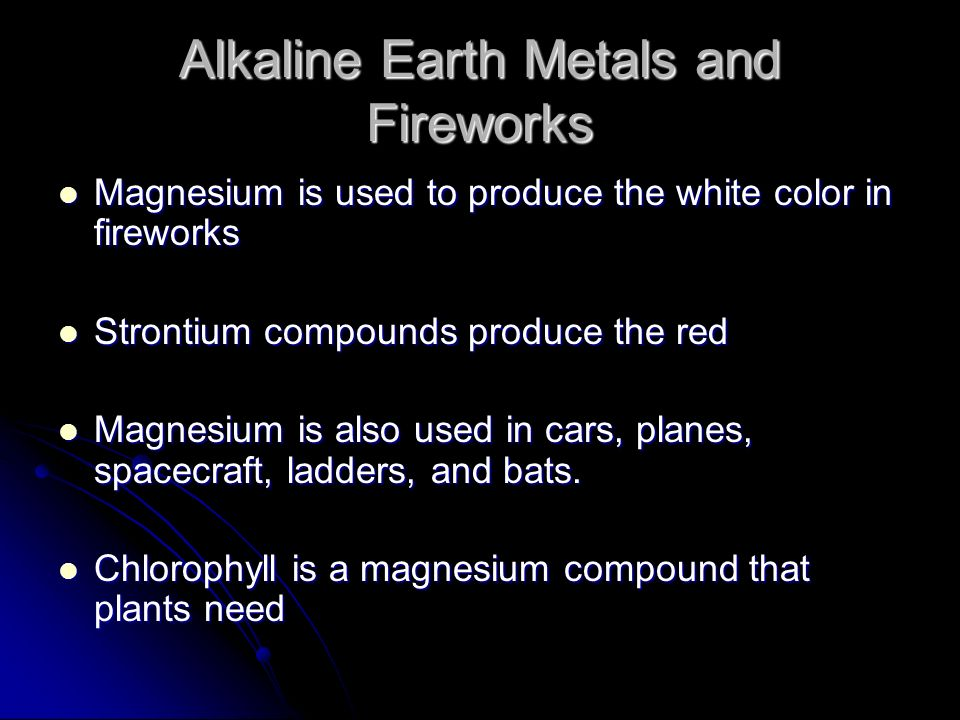 Alkaline Earth Metals and Fireworks