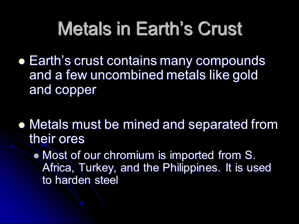 Metals in Earth's Crust