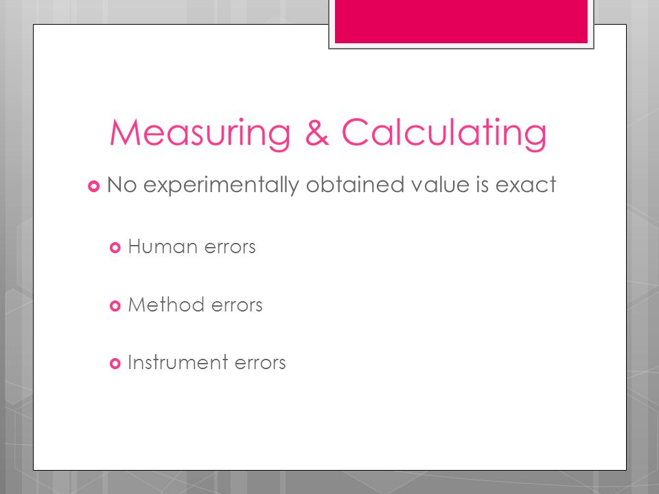 Measuring & Calculating