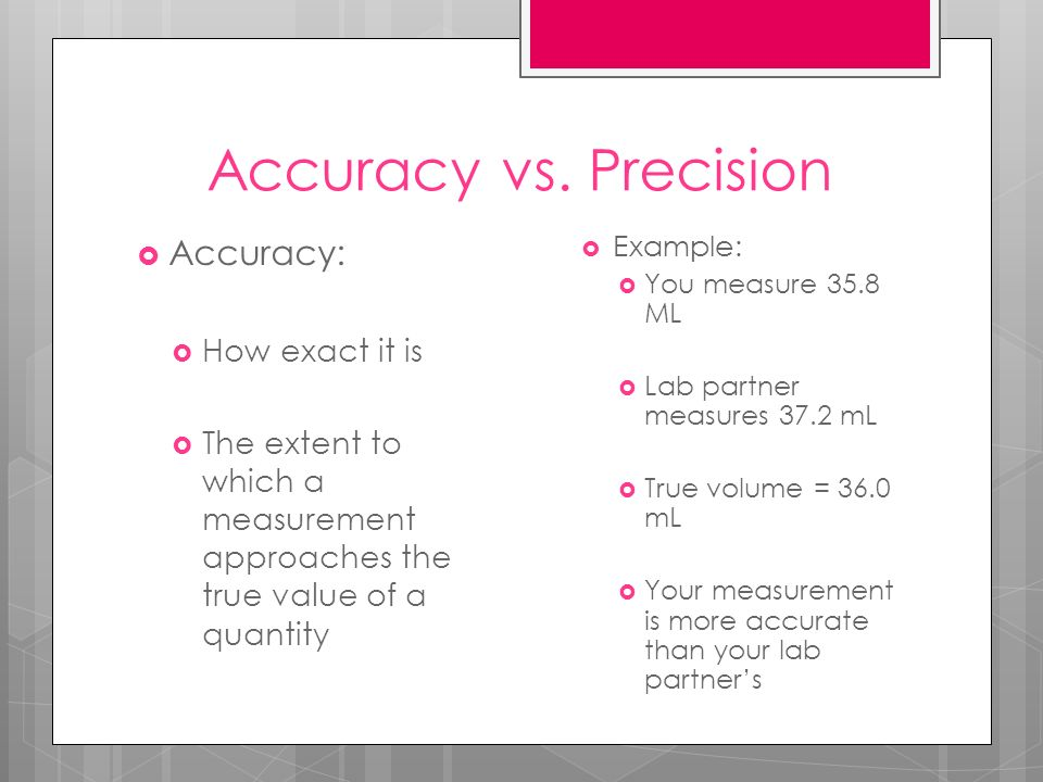 Accuracy vs. Precision Accuracy: How exact it is