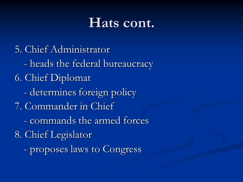 Hats cont. 5. Chief Administrator - heads the federal bureaucracy