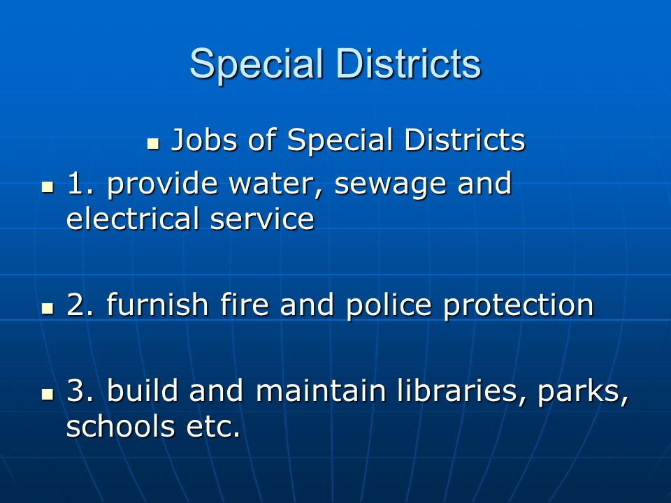 Jobs of Special Districts