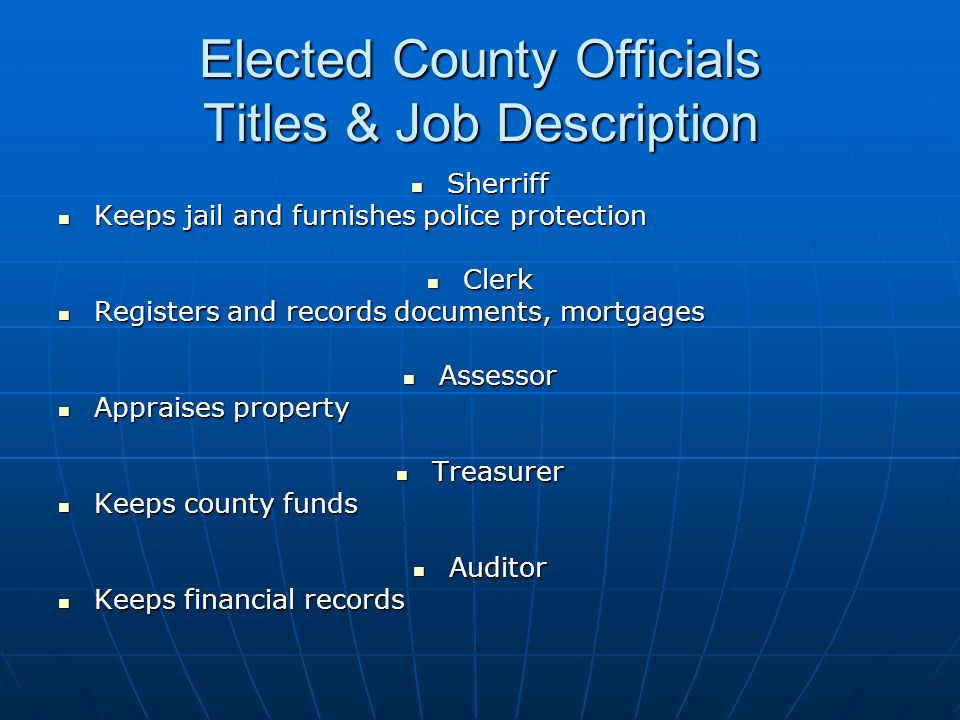 Elected County Officials Titles & Job Description
