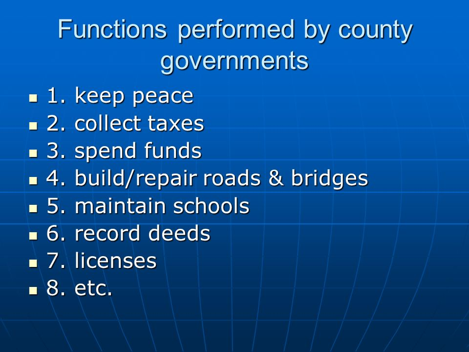 Functions performed by county governments