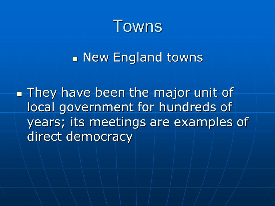 Towns New England towns