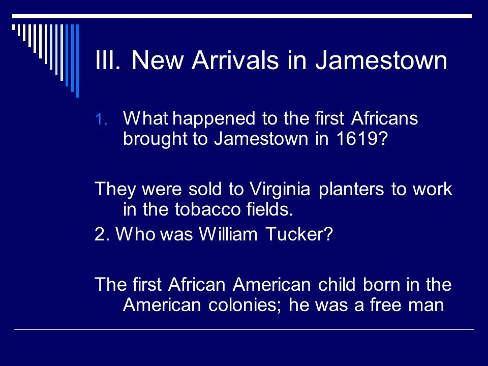 III. New Arrivals in Jamestown