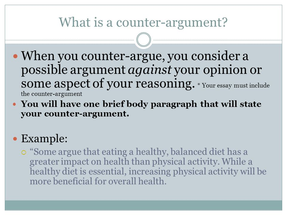 Opinion essay with counter argument example