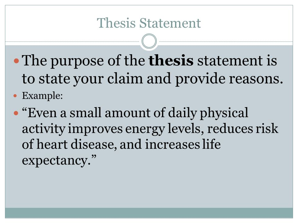 one purpose of a thesis statement is to This post dissects the components of a good thesis statement and gives 10 thesis direction and purpose one of these thesis statement examples will get you.